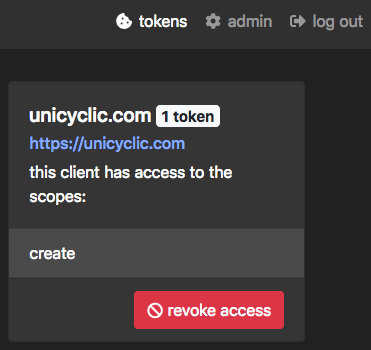 a screenshot of an admin panel in my site, which displays micropub tokens and allows me to revoke access