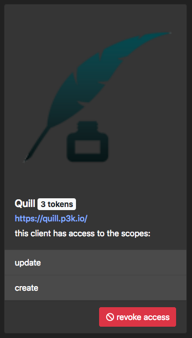 another screenshot, showing that quill.p3k.io has its nice name and logo displayed. lovely